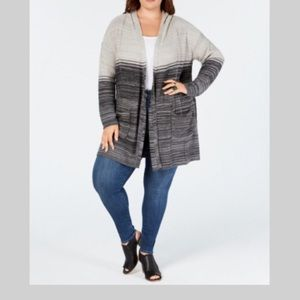 Style & Co Plus Size Ombré Hooded Cardigan Size 2X
